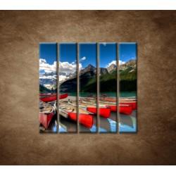 Obrazy na stenu - Kánoe na jazere - 5dielny 100x100cm