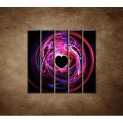 Obrazy na stenu - 3D srdce - 5dielny 100x100cm