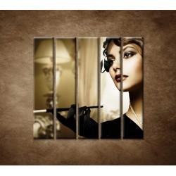 Obrazy na stenu - Žena s cigaretou - 5dielny 100x100cm
