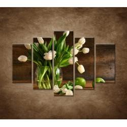 Obrazy na stenu - Tulipány vo váze - zátišie - 5dielny 150x100cm