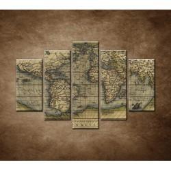 Obrazy na stenu - Antická mapa sveta r.1570 - 5dielny 150x100cm