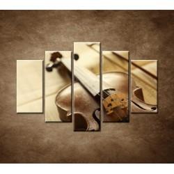 Obrazy na stenu - Husle a slák - 5dielny 150x100cm