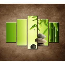 Obrazy na stenu - Bambus a kamene - 5dielny 150x100cm