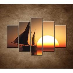Obrazy na stenu - Západ slnka na mori - 5dielny 150x100cm