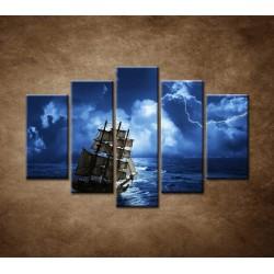 Obrazy na stenu - Búrka na mori - 5dielny 150x100cm