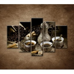 Obrazy na stenu - Kanvica kávy - 5dielny 150x100cm