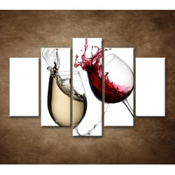 Obrazy na stenu - Biele a červené víno - 5dielny 150x100cm