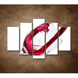 Obrazy na stenu - Červené víno - 5dielny 150x100cm