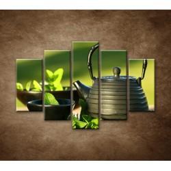 Obrazy na stenu - Kanvica s čajom - 5dielny 150x100cm
