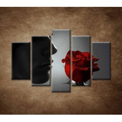 Obrazy na stenu - Žena s ružou - 5dielny 150x100cm