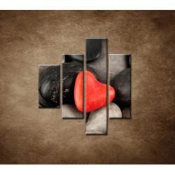 Obrazy na stenu - Červené srdce na kameňoch - 4dielny 80x90cm