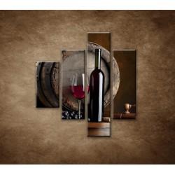 Obrazy na stenu - Fľaša červeného vína - 4dielny 80x90cm