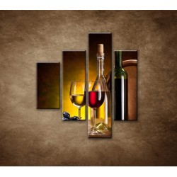 Obrazy na stenu - Víno so sudom - 4dielny 80x90cm