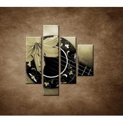 Obrazy na stenu - Gitara s kvetom - 4dielny 80x90cm
