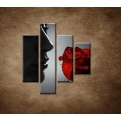 Obrazy na stenu - Žena s ružou - 4dielny 80x90cm