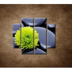 Obrazy na stenu - Žlto-zelený kvet - 4dielny 100x90cm
