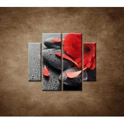Obrazy na stenu - Červená gerbera a kamene - 4dielny 100x90cm