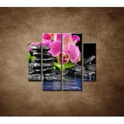 Obrazy na stenu - Kamene s kvetom - 4dielny 100x90cm