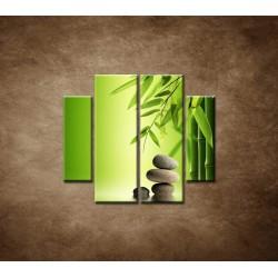 Obrazy na stenu - Bambus a kamene - 4dielny 100x90cm
