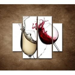 Obrazy na stenu - Biele a červené víno - 4dielny 100x90cm