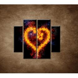 Obrazy na stenu - Ohnivé srdce - 4dielny 100x90cm
