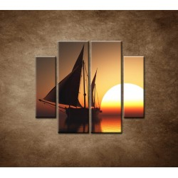 Obrazy na stenu - Západ slnka na mori - 4dielny 100x90cm