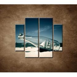 Obrazy na stenu - Loď vo fľaši - 4dielny 100x90cm