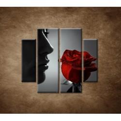 Obrazy na stenu - Žena s ružou - 4dielny 100x90cm
