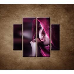 Obrazy na stenu - Žena so šatkou - 4dielny 100x90cm