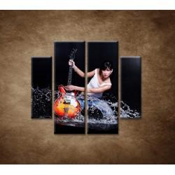 Obrazy na stenu - Gitaristka - 4dielny 100x90cm