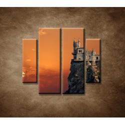 Obrazy na stenu - Zámok na skale - 4dielny 100x90cm