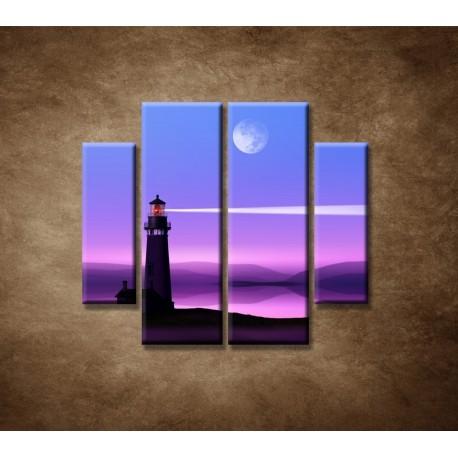 Obrazy na stenu - Nočný maják - 4dielny 100x90cm
