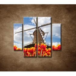 Obrazy na stenu - Mlyn s tulipánmi - 4dielny 100x90cm