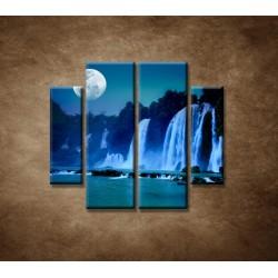 Obrazy na stenu - Nočné vodopády - 4dielny 100x90cm