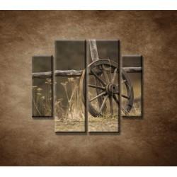 Obrazy na stenu - Staré koleso - 4dielny 100x90cm