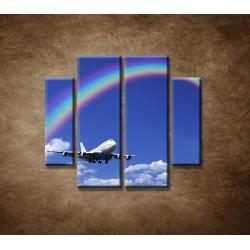 Obrazy na stenu - Lietadlo s dúhou - 4dielny 100x90cm