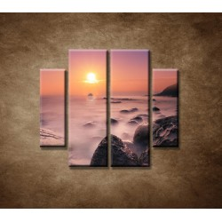 Obrazy na stenu - Východ slnka na pobreží - 4dielny 100x90cm