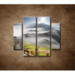 Obrazy na stenu - Mraky nad horami - 4dielny 100x90cm