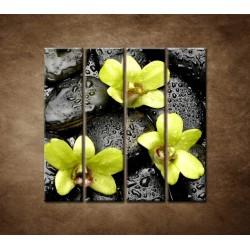 Obrazy na stenu - Kamene s kvapkami a orchideou - 4dielny 120x120cm