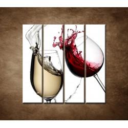 Obrazy na stenu - Biele a červené víno - 4dielny 120x120cm