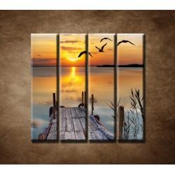 Obrazy na stenu - Západ slnka nad morom - 4dielny 120x120cm