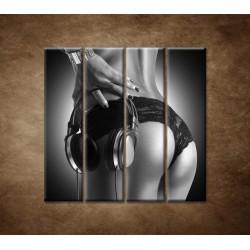 Obrazy na stenu - Nahá DJ-ka - 4dielny 120x120cm