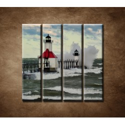 Obrazy na stenu - Maják po búrke - 4dielny 120x120cm