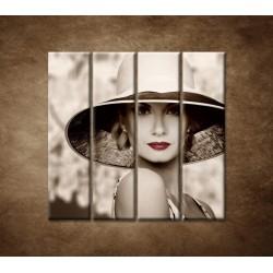 Obrazy na stenu - Žena v klobúku - 4dielny 120x120cm