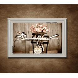Obraz na stenu - Starý bicykel s kvetmi - bledý rám
