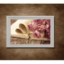 Obraz na stenu - Suché ruže a kniha - bledý rám