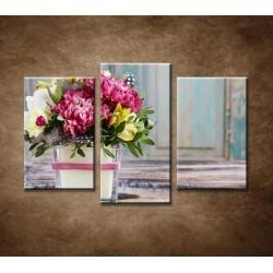 Obrazy na stenu - Farebná kytica 2 - 3dielny 75x50cm