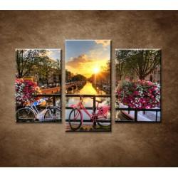 Obrazy na stenu - Východ slnka v Amsterdame - 3dielny 75x50cm