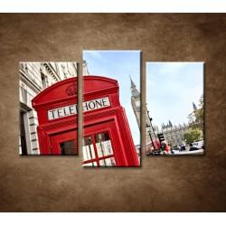 Obrazy na stenu - Telefónna búdka - 3dielny 75x50cm