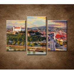 Obrazy na stenu - Západ slnka nad Bratislavou - 3dielny 75x50cm